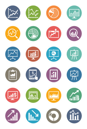 Business Graphs & Charts Icons - Dot Series