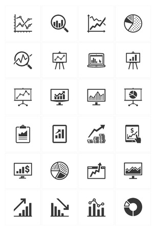 Business Graphs & Charts Icons Vector