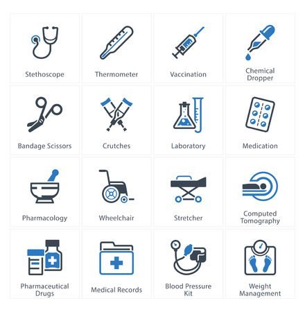 Medical & Health Care Icons Set 1 - Equipment & Supplies Stok Fotoğraf - 33454647