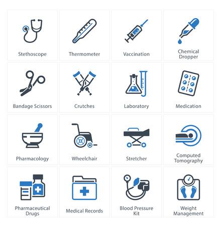 consulta médica: Medicina y Salud Care Icons Set 1 - Equipos y Suministros Vectores