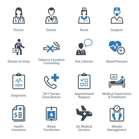 personal medico: Iconos M�dicos de Atenci�n sanitaria y Set 2 - Servicios Vectores