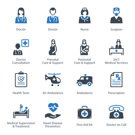 nurses: Iconos de Medicina y Salud Set 1 - Servicios Vectores