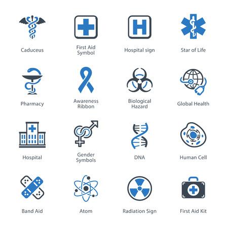caduceo: Iconos Médicos y Salud Set 1 - Serie Azul