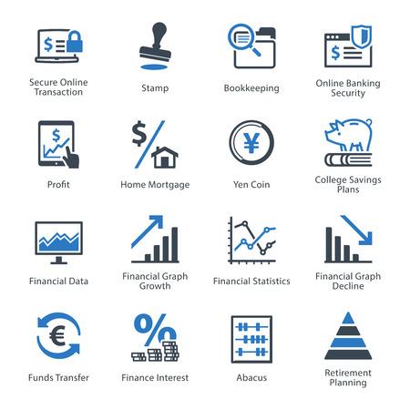 crecimiento personal: Iconos de las finanzas personales y de negocios Set 3 - Serie Azul Vectores