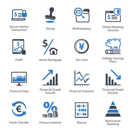 finances: Personal & Business Finance Icons Set 3 - Blue Series