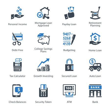 crecimiento personal: Iconos de las finanzas personales y de negocios Set 2 - Serie Azul