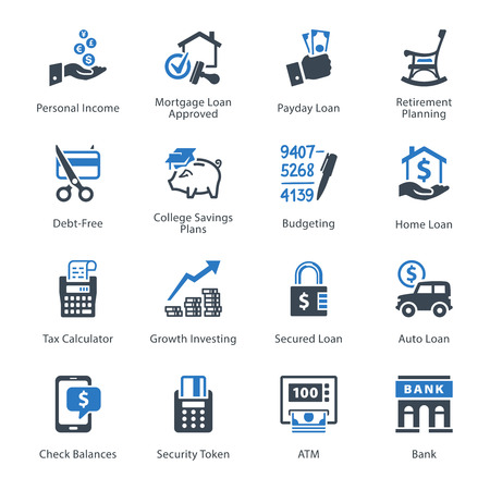 personal banking: Personal & Business Finance Icons Set 2 - Blue Series