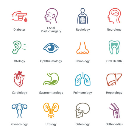 face surgery: Colored Medical & Health Care Icons Set 1 - Specialties