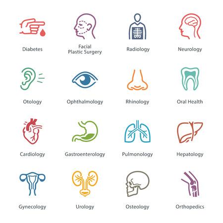 Gekleurde Medical & Health Care Icons Set 1 - Specialties