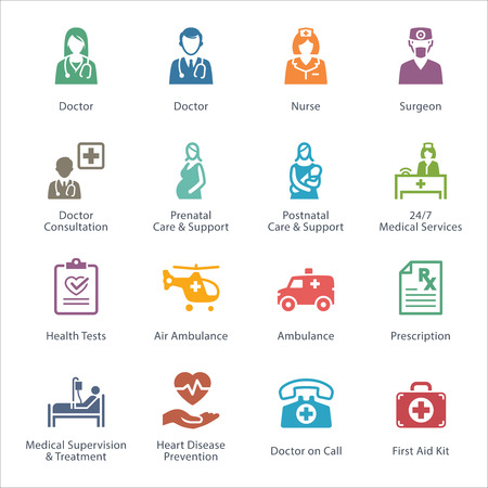 medical icons: Colored Medical & Health Care Icons Set 1 - Services Illustration