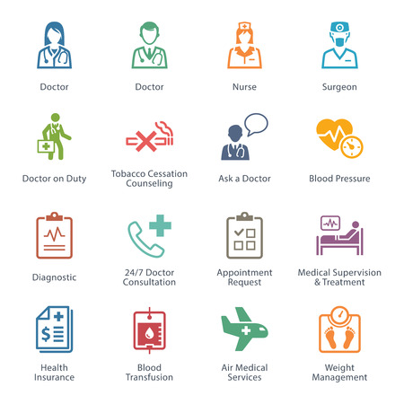 Colored Medical & Health Care Icons Set 2 - Services Vectores