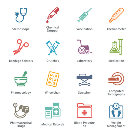 treatment: Colored Medical & Health Care Icons Set 1 - Equipment & Supplies