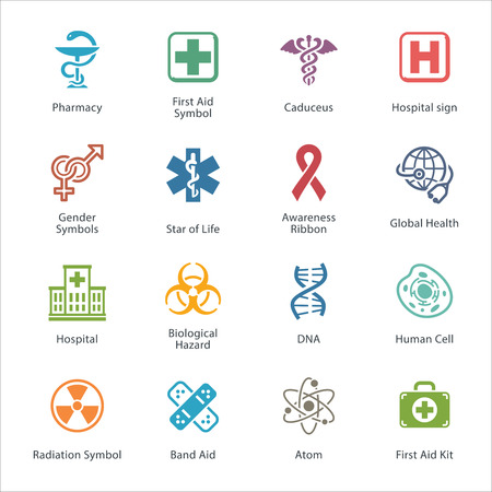 caduceo: Colored M�dico Health Care Icons - Set 1 Vectores
