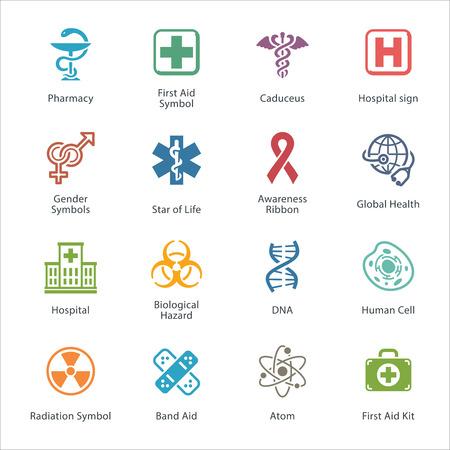 egészségügyi ellátás: Színes Orvosi és Egészségügyi, ikonok, - 1. szett Illusztráció