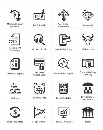 Personal & Business Finance Icons - Set 1 Vectores