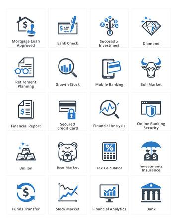 crecimiento personal: Iconos de las finanzas personales y de negocios Set 1 - Serie Azul