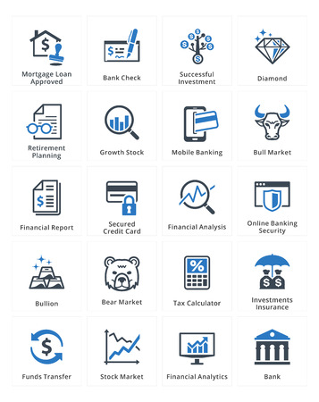 financial graphs: Personal & Business Finance Icons Set 1 - Blue Series Illustration