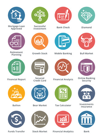Personal & Business Finance Icons Set 1 - Dot Series Vectores