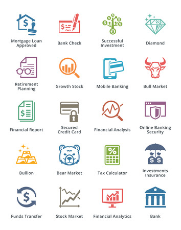 個人 & ビジネス金融アイコン セット 1 - 色シリーズ