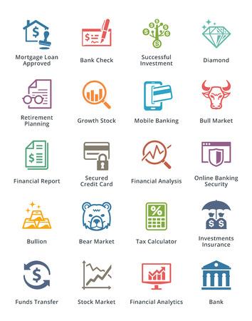 crecimiento personal: Personal y Negocios Finanzas Icons Set 1 - Color Series Vectores