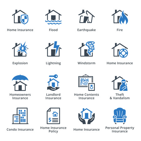 insurance protection: Property Insurance - Blue Series Illustration