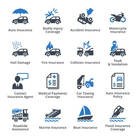 醫療保健: 車輛保險 - 藍系列 向量圖像