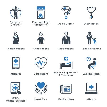 zdraví: Lékařský a zdravotní péče ikony Set 2 - modrá řada