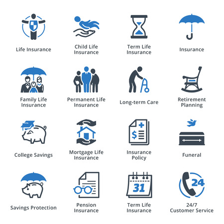 old business man: Life Insurance Icons - Blue Series