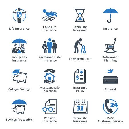 document management: Seguro de Vida iconos - Serie Azul