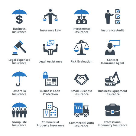 empresarial: Este conjunto contiene iconos de seguros de negocios que se pueden utilizar para el diseño y desarrollo de sitios web, así como los materiales impresos y presentaciones.