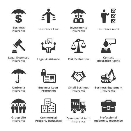 commercial law: This set contains business insurance icons that can be used for designing and developing websites, as well as printed materials and presentations.
