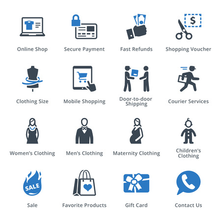 ecommerce icons: E-commerce Icons Set 1 - Blue Series Illustration