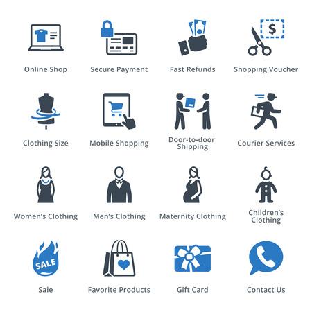 E-commerce Icons Set 1 - Blue Series Illustration