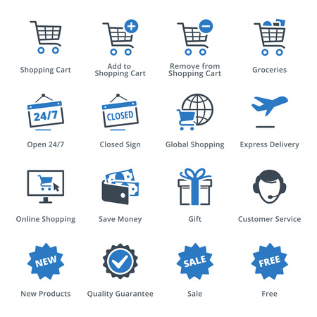 finance icons: E-commerce Icons Set 2 - Blue Series Illustration