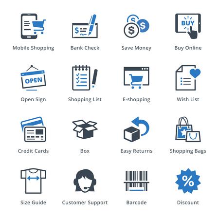 E-commerce Icons Set 3 - Blue Series  イラスト・ベクター素材
