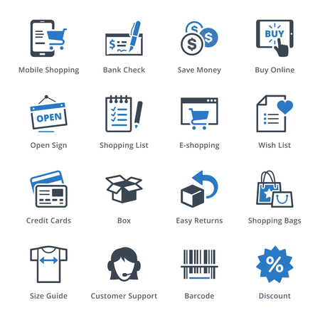 E-commerce Icons Set 3 - Blue Series Vectores