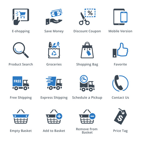 finance icons: E-commerce Icons Set 4 - Blue Series
