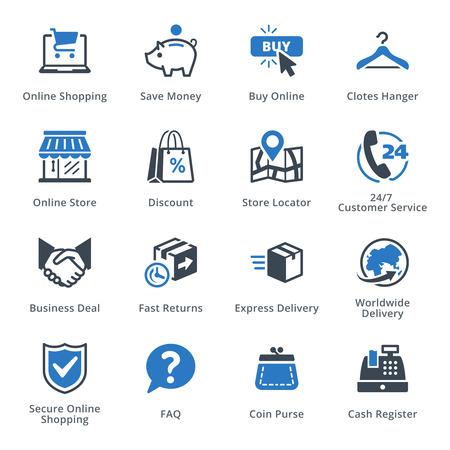 banco dinero: El comercio electrónico de conjunto de iconos 5 - Serie Azul Vectores