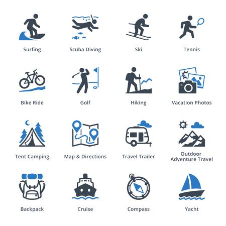 Tourismus und Reisen Icons Set 4 - Blue Series