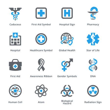 riesgo biologico: Médico de Atención sanitaria y set de iconos de 1 - Serie Sympa Vectores