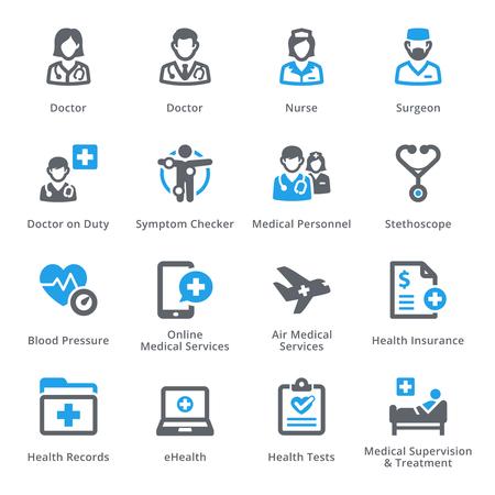 consulta médica: Médico de Atención sanitaria y set de iconos de 2 - Servicios | Serie sympa Vectores