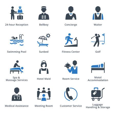 recepcionista: Turismo y Viajes de conjunto de iconos 2 - Serie Azul