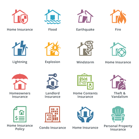 ruined house: Home Insurance Icons - Colored Series Illustration