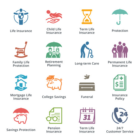document: Life Insurance Icons - Colored Series Illustration