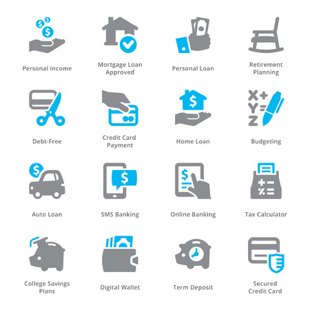 retirement home: Personal & Business Finance Icons Set 2 - Sympa Series Illustration
