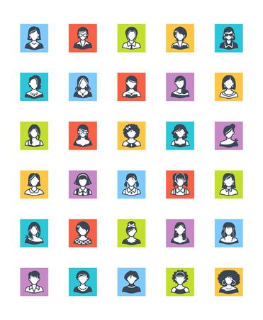 office worker: Women Avatars Icons - Square Version Illustration