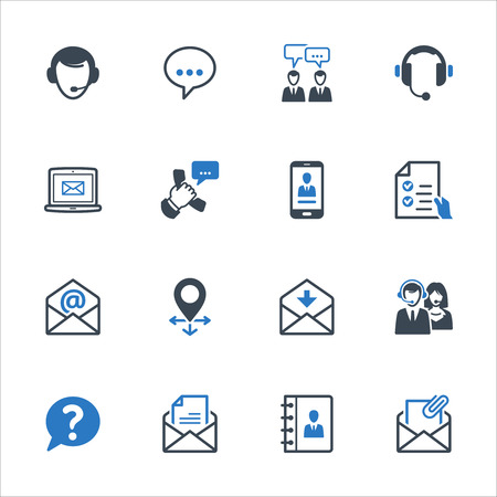 Contattaci Icons Set 1 - serie blu. Set di icone che rappresentano l'assistenza clienti, servizio clienti e supporto.