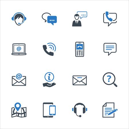 Contattaci icone set 3 - serie blu. Set di icone che rappresentano l'assistenza clienti, servizio clienti e supporto.