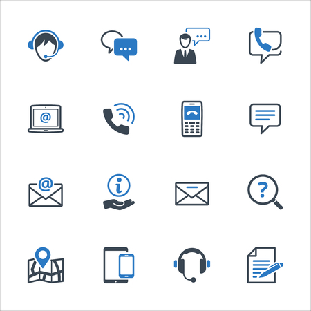 Contact Us Icons Set 3 - Blue Series. Set of icons representing customer assistance, customer service and support.