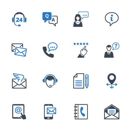 Contact Us Icons Set 6 - Blue Series. Set of icons representing customer assistance, customer service and support. 矢量图像